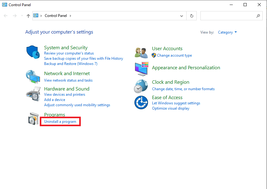 Click Programs & Features to open Uninstall or change a program window