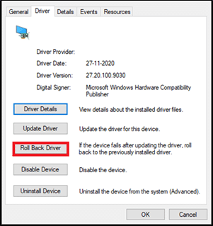 switch to the Driver tab and select Roll Back Driver