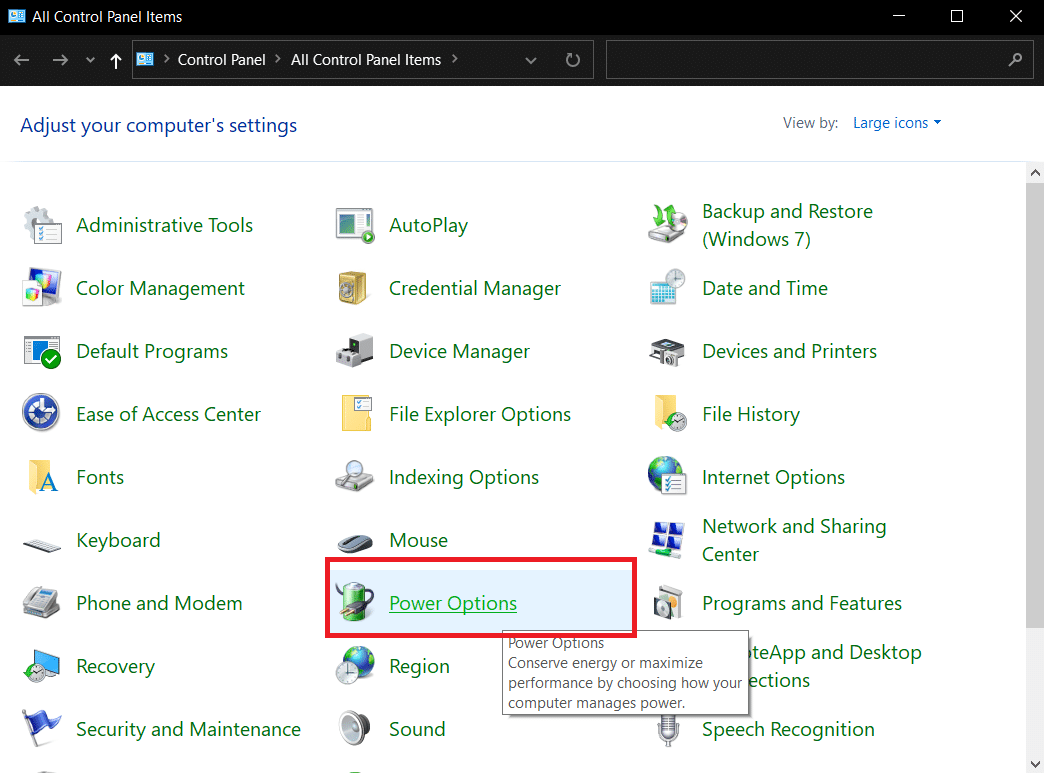 go to the Power Options and click on it.