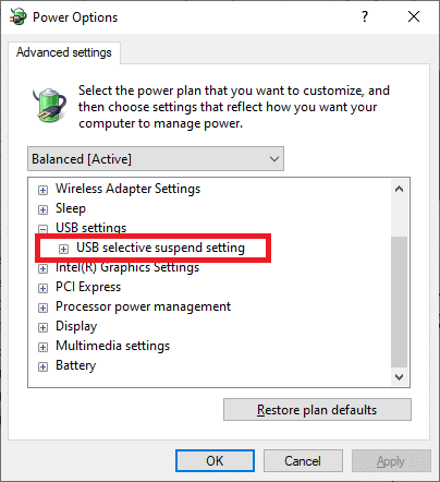 Now, again, expand the USB selective suspend setting by clicking on the + icon as you did in the previous step. Fix USB keeps disconnecting and reconnecting