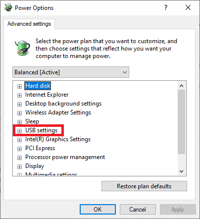 Here, in the Advanced settings menu, expand the USB settings option by clicking on the + icon. Fix USB keeps disconnecting and reconnecting