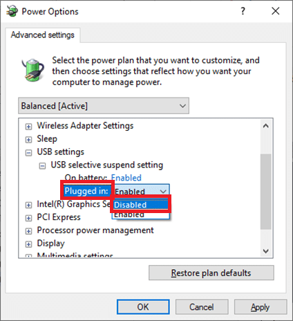 click on Plugged in and change the setting to Disabled from the drop-down list Fix USB Keeps Disconnecting and Reconnecting Windows 10
