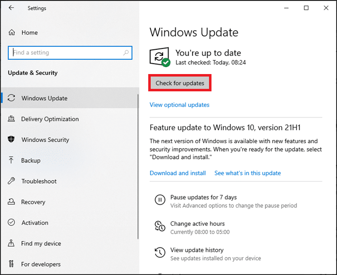 select Check for Updates from the right panel