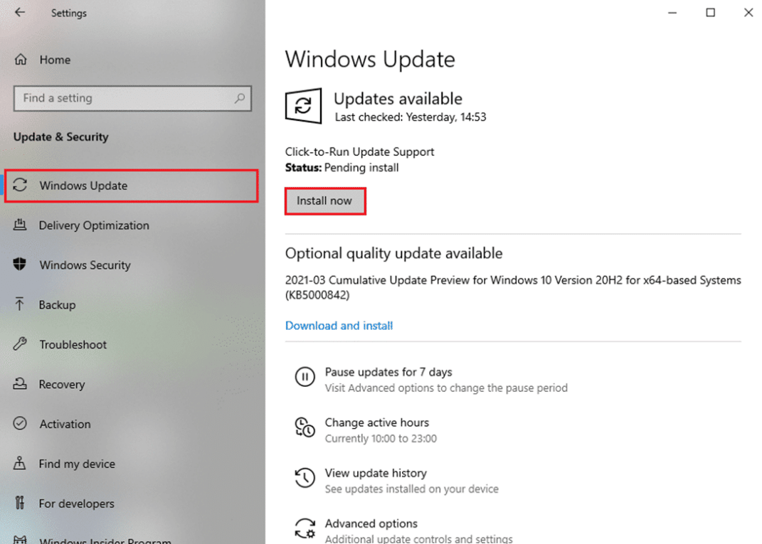 Follow the on-screen instructions to download and install the latest update available.