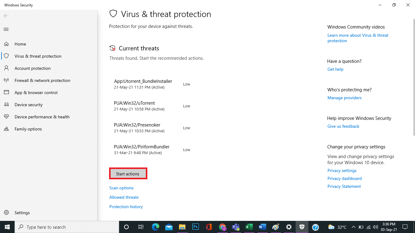Click on Start Actions under Current threats.