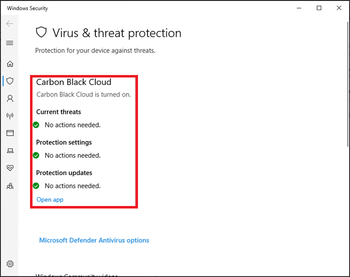 If you do not have any threats in your system, the system will show the No actions needed alert as highlighted.