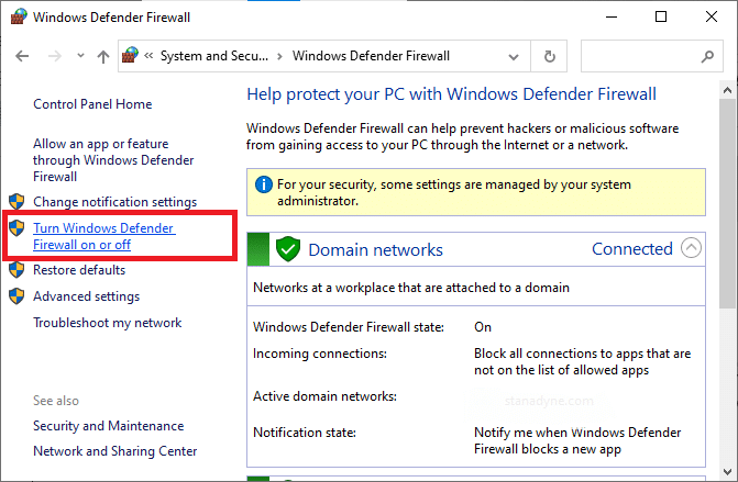 Now, select the Turn Windows Defender Firewall on or off option at the left menu. Fix Chrome Blocking Download Issue