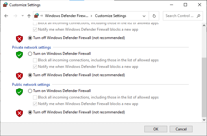Now, check the boxes; turn off Windows Defender Firewall. How to stop Chrome from blocking download