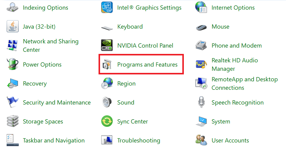 Click on Programs and Features, as shown