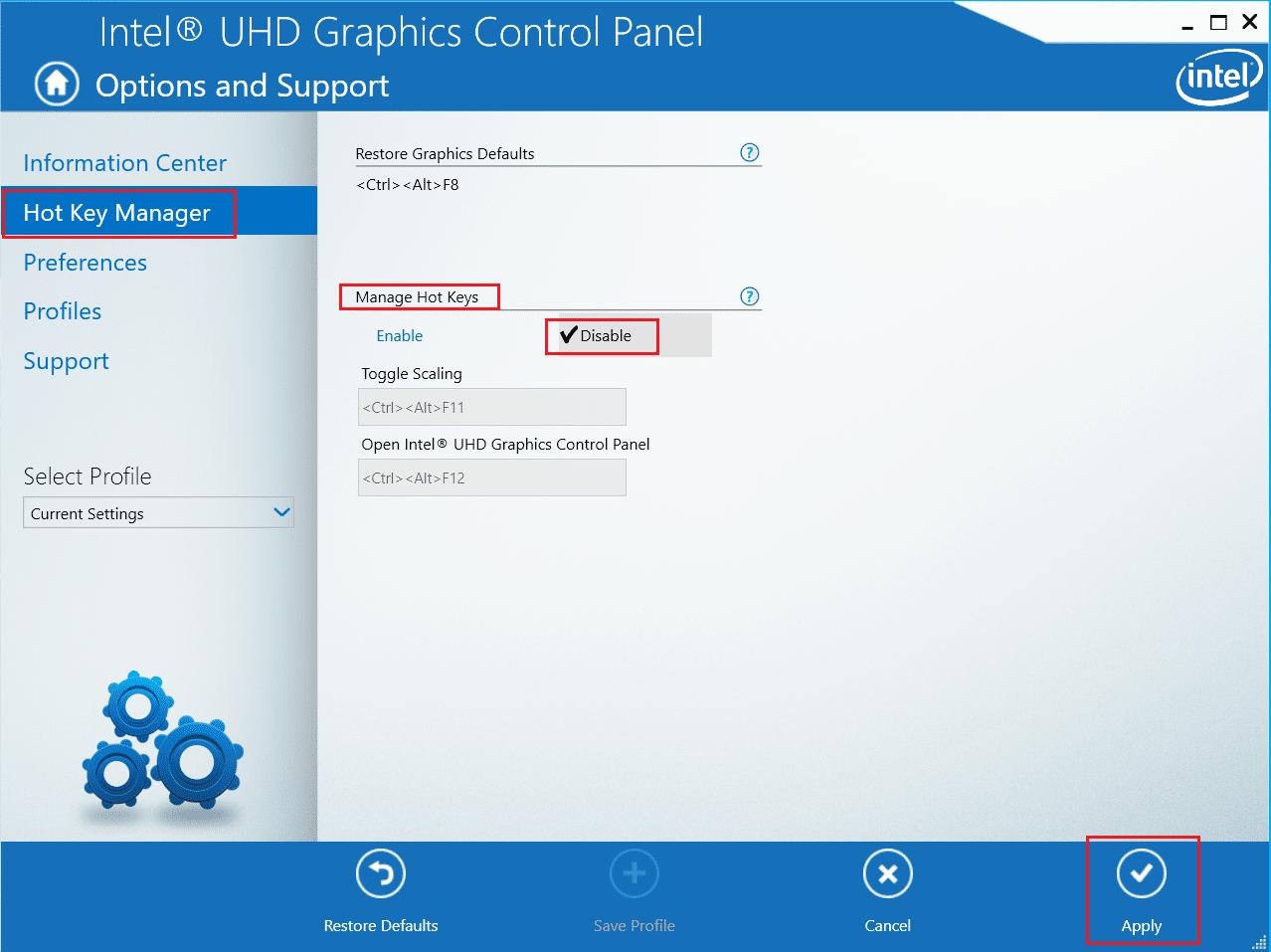disable hot key in intel graphics control panel. What is hkcmd
