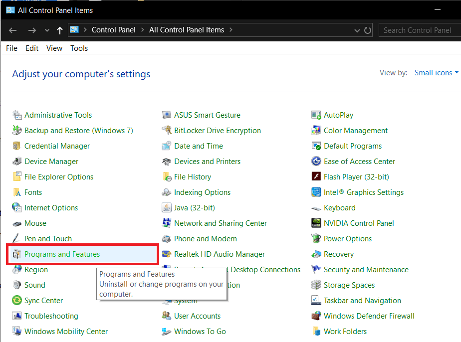 Select Programs and Features, as shown. hkcmd module : should I remove it
