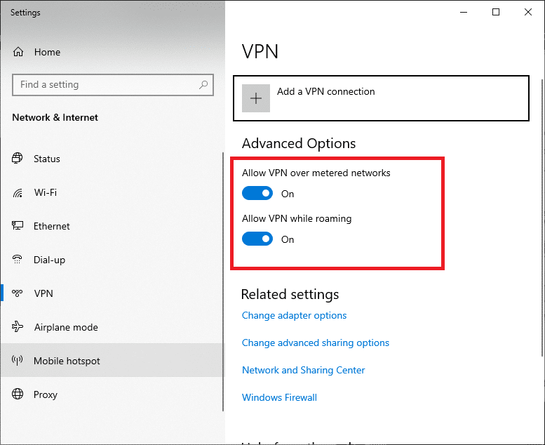 In the Settings window, disconnect the active VPN service and toggle off the VPN options under Advanced Options.