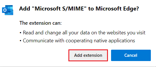 select add extension to add microsoft S MIME extension. The content can't be displayed because the S MIME control isn't available