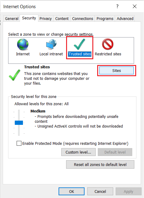 Choose Trusted Sites in Security tab of Internet Options in Internet Explorer. the content can't be displayed because the S/MIME control isn't available