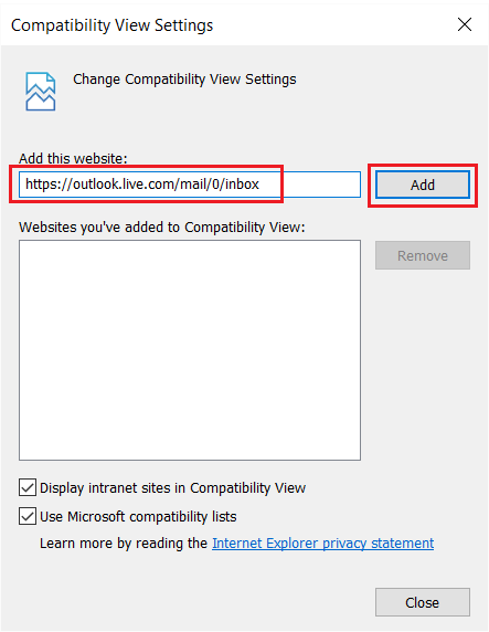 Add the same link in Compatibility View Settings and click on Add