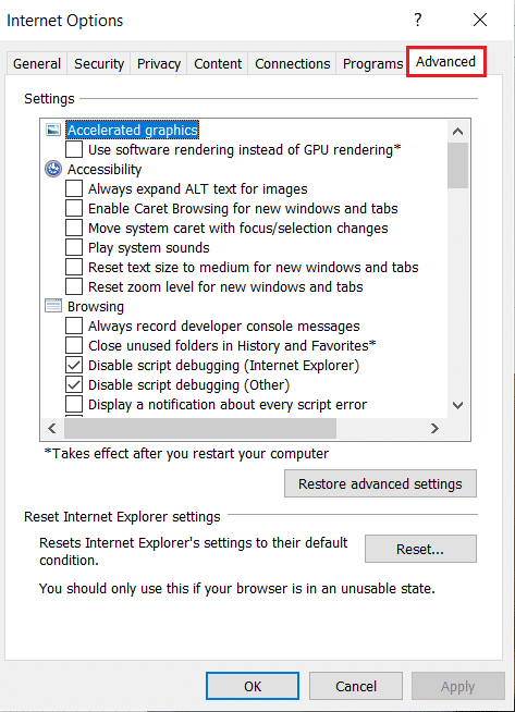 select Advanced tab in Internet Option in Internet Explorer