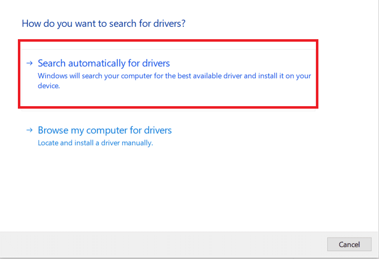 click on select Search automatically for drivers