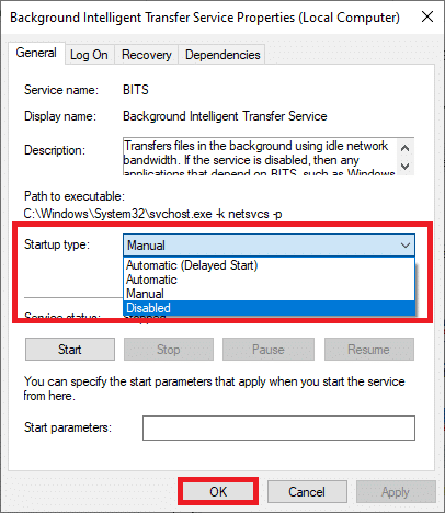 set the Startup type to Disabled from the drop-down menu