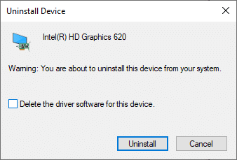 """Now, a warning prompt will be displayed on the screen. Check the box """"Delete the driver software for this device"""" and confirm the prompt by clicking on Uninstall. DISM host servicing process high CPU usage"""