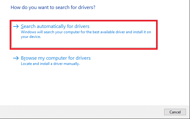 click on Search automatically for drivers to download and install a driver automatically.