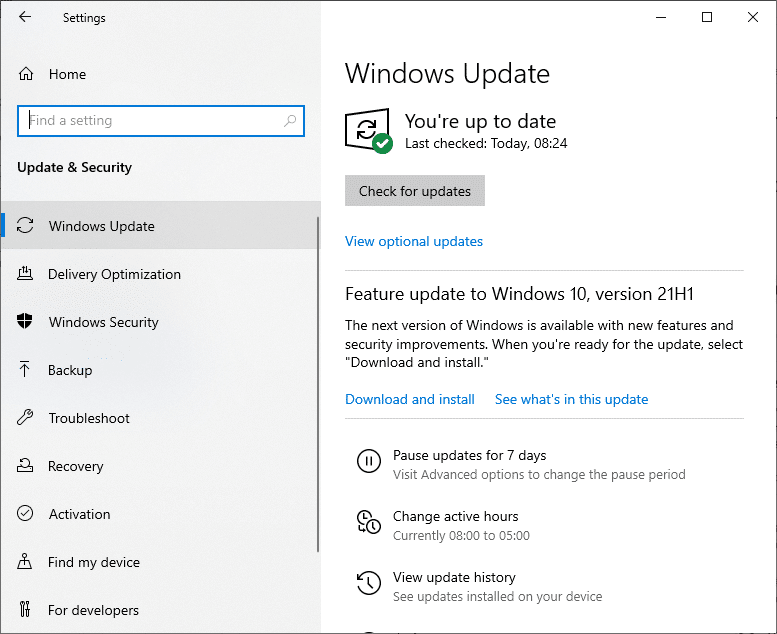 Now, select Check for Updates from the right panel.