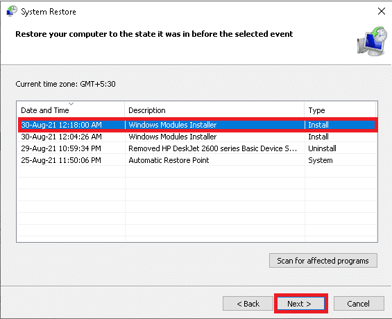 Select the last update and click on Next. DISM host servicing process high CPU usage
