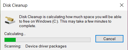Disk Cleanup will now scan for files and calculate the amount of space that can be cleared. It may take a few minutes.
