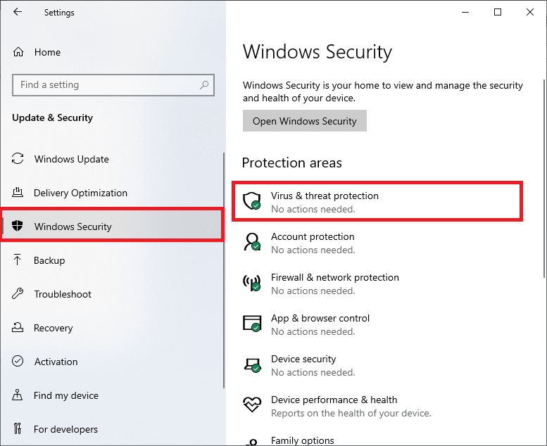 select the Virus & threat protection option under Protection areas. Win Setup Files