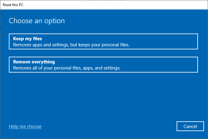 Now, choose an option from the Reset this PC window. Win Setup Files