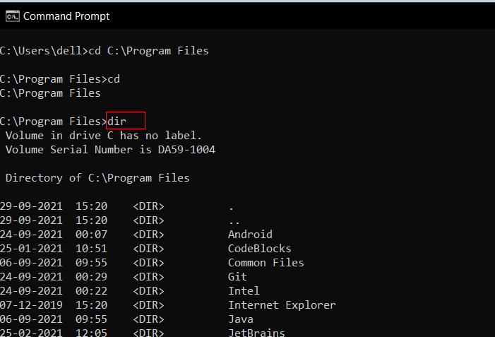 """Use the command """"dir"""" to view the subfolders. How to change directory in CMD Windows 10"""
